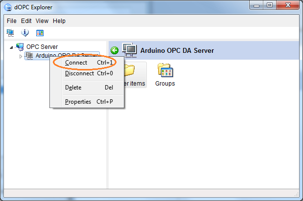 Connect Arduino OPC Server to dOPC Explorer