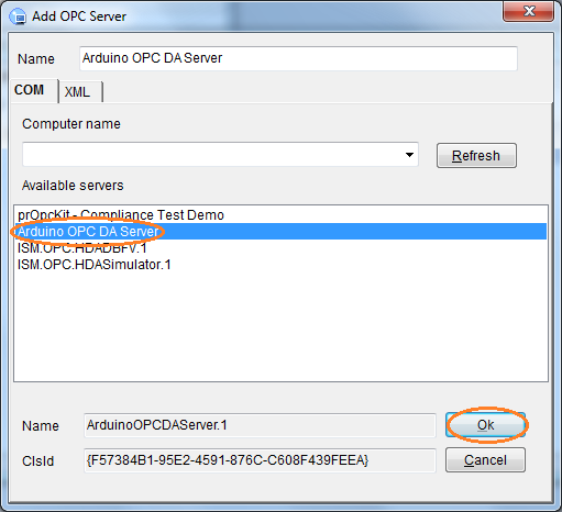 Select Arduino OPC Server to dOPC Explorer