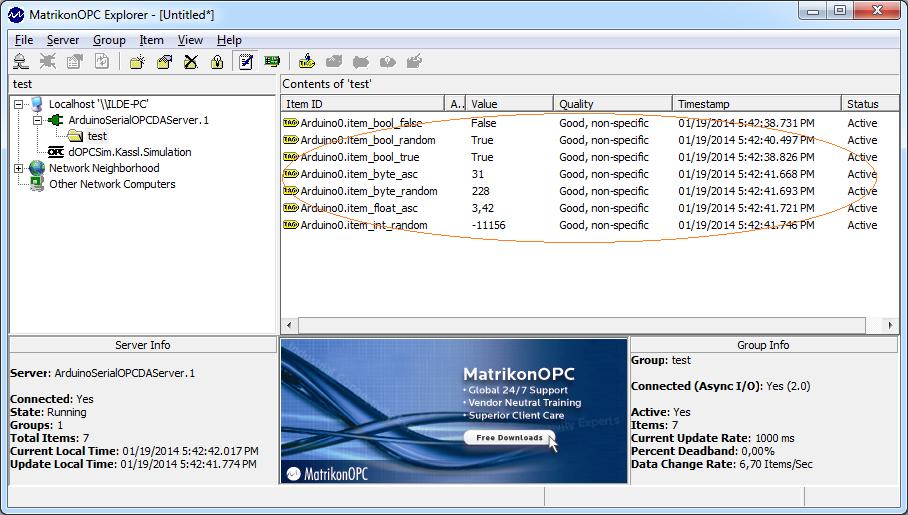 Connect to Arduino OPC Server using Matrikon OPC Explorer