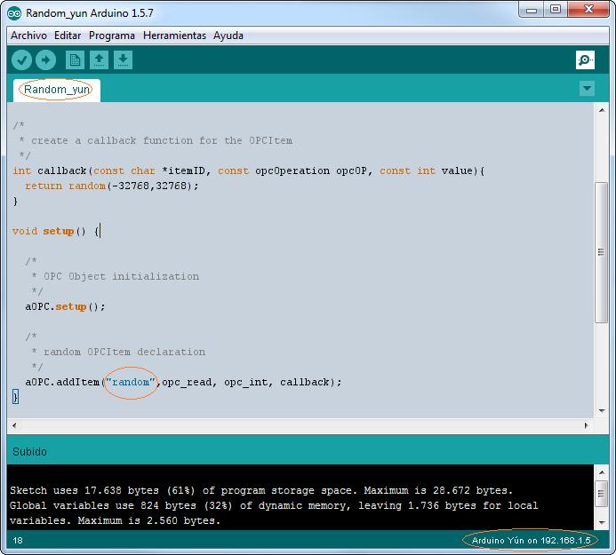 Test Arduino YUN OPC sketch