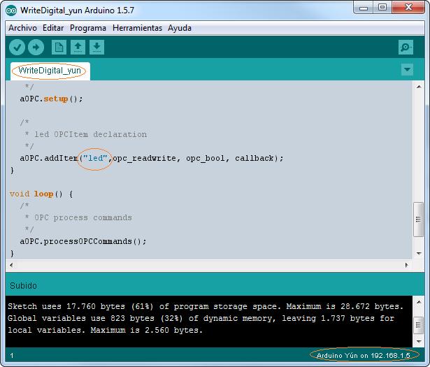Arduino YUN write digital values